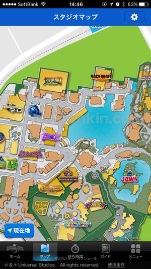 USJのアプリからマップを確認