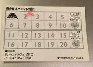 サンマルクポイントカード(裏)