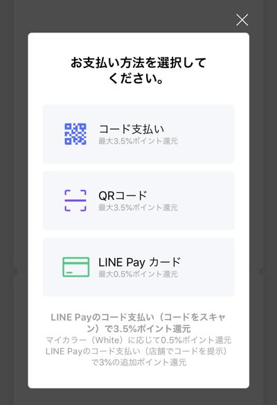 LINE Payの割り勘の支払い方法