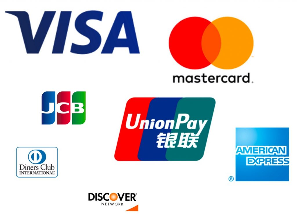 VISA、MasterCard、JCB、American Express、Diners、UnionPay、DISCOVER