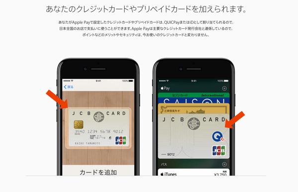 ApplePayの公式サイトでJCBオリジナルシリーズが使われている