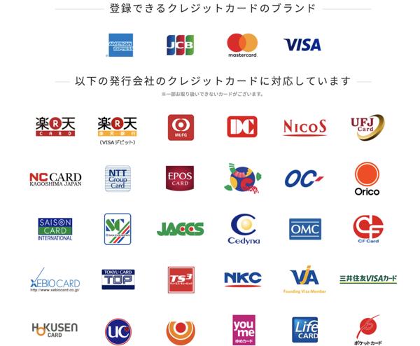Android Payで楽天Edyにチャージ可能なクレジットカード一覧