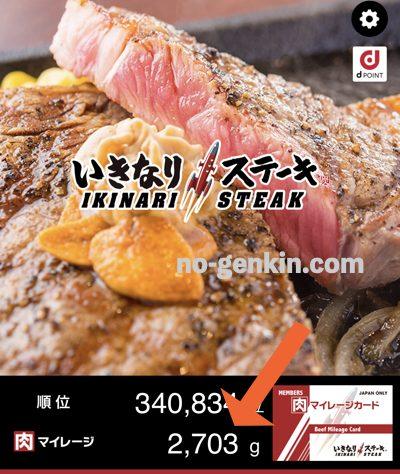 いきなりステーキのアプリ(貯まっている肉マイレージ)