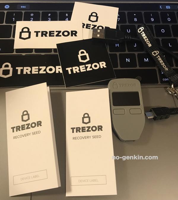 TREZORの本体と付属品