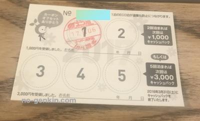 スーパーホテルのとくとくECO泊カード(裏面)