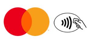 Mastercardのロゴとコンタクトレスのマーク