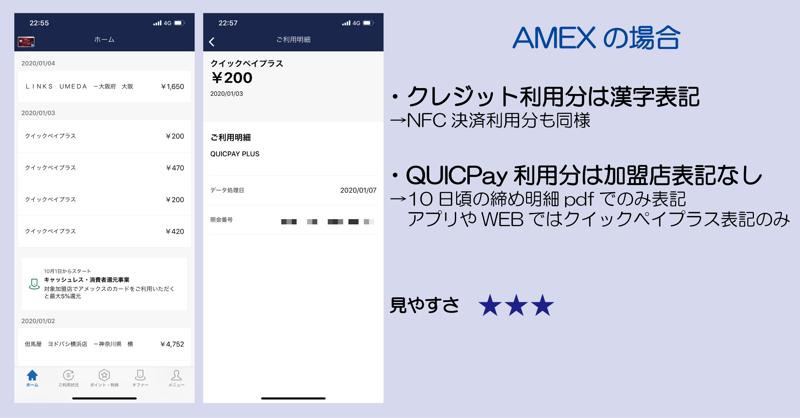 AMEXの明細(クレジット利用分は漢字表記/QUCIPay利用分は加盟店表記なし/見やすさ☆3つ)