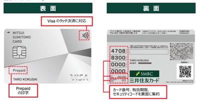 Visaプリペの券面の表と裏