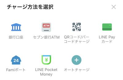 LINE Payアカウントへのチャージ方法一覧
