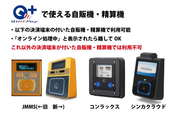 デビットカード・プリペイドカードでQUICPay決済ができる自販機の決済端末